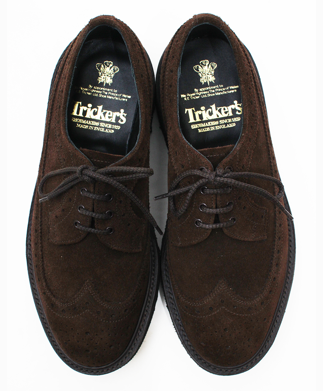 Tricker's M7306 Chocolate Repello Suede Golosh Brogues(Brown)