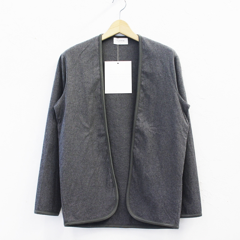 flistfia Piping Cardigan(Charcoal Gray)