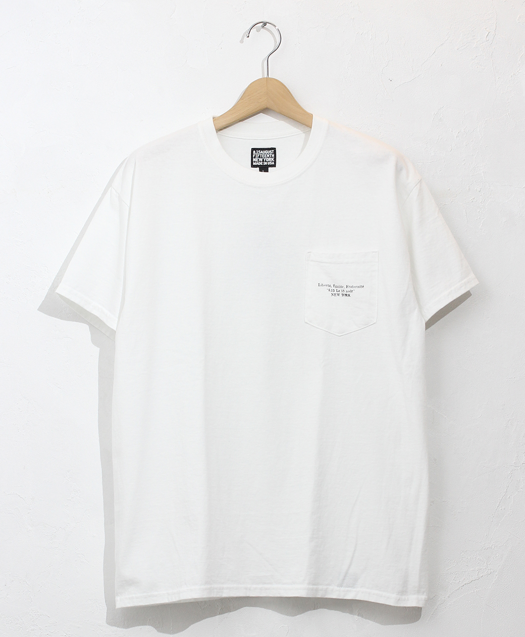 8.15 August Fifteenth LOGO POCKET TEE FRENCH LOGO(WHITE)