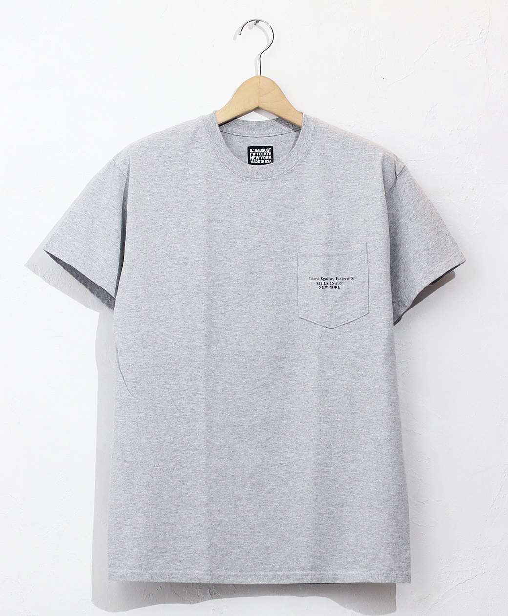 8.15 August Fifteenth LOGO POCKET TEE FRENCH LOGO(HEATHER GREY)