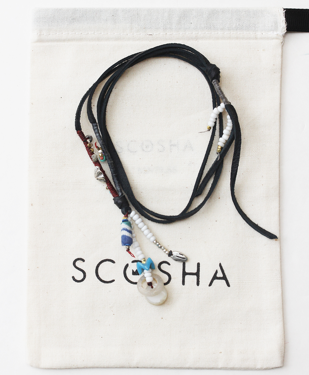 scosha LEATHER CORD NECKLACE(BLACK CORD)