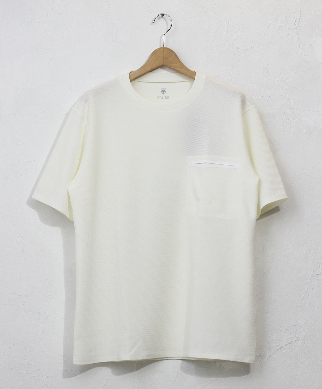 DESCENTE THERMAL SLASH POCKET H/S T-SHIRT(WHT)