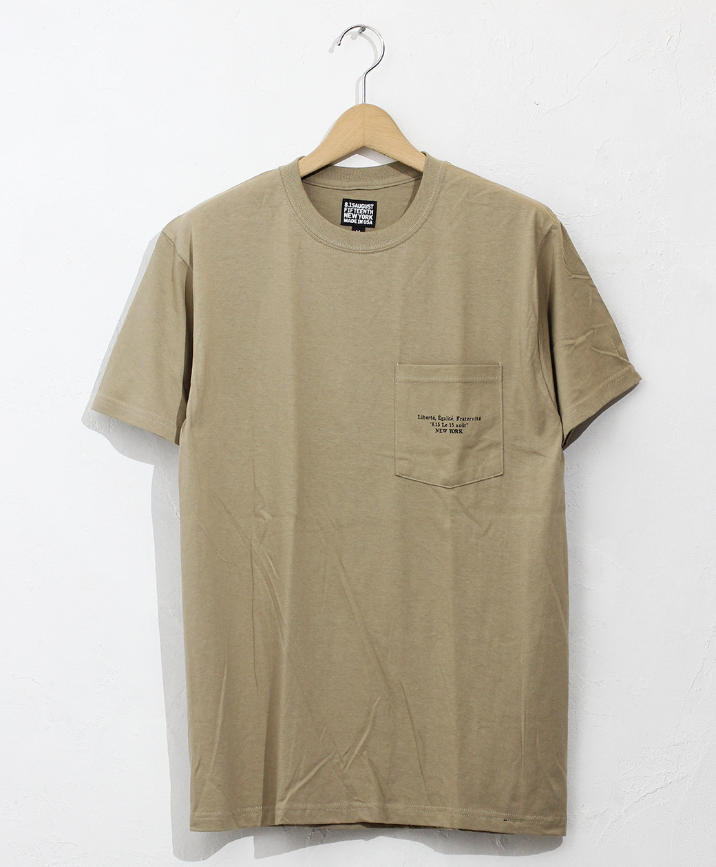 8.15 August Fifteenth LOGO POCKET TEE FRENCH LOGO(KHAKI)