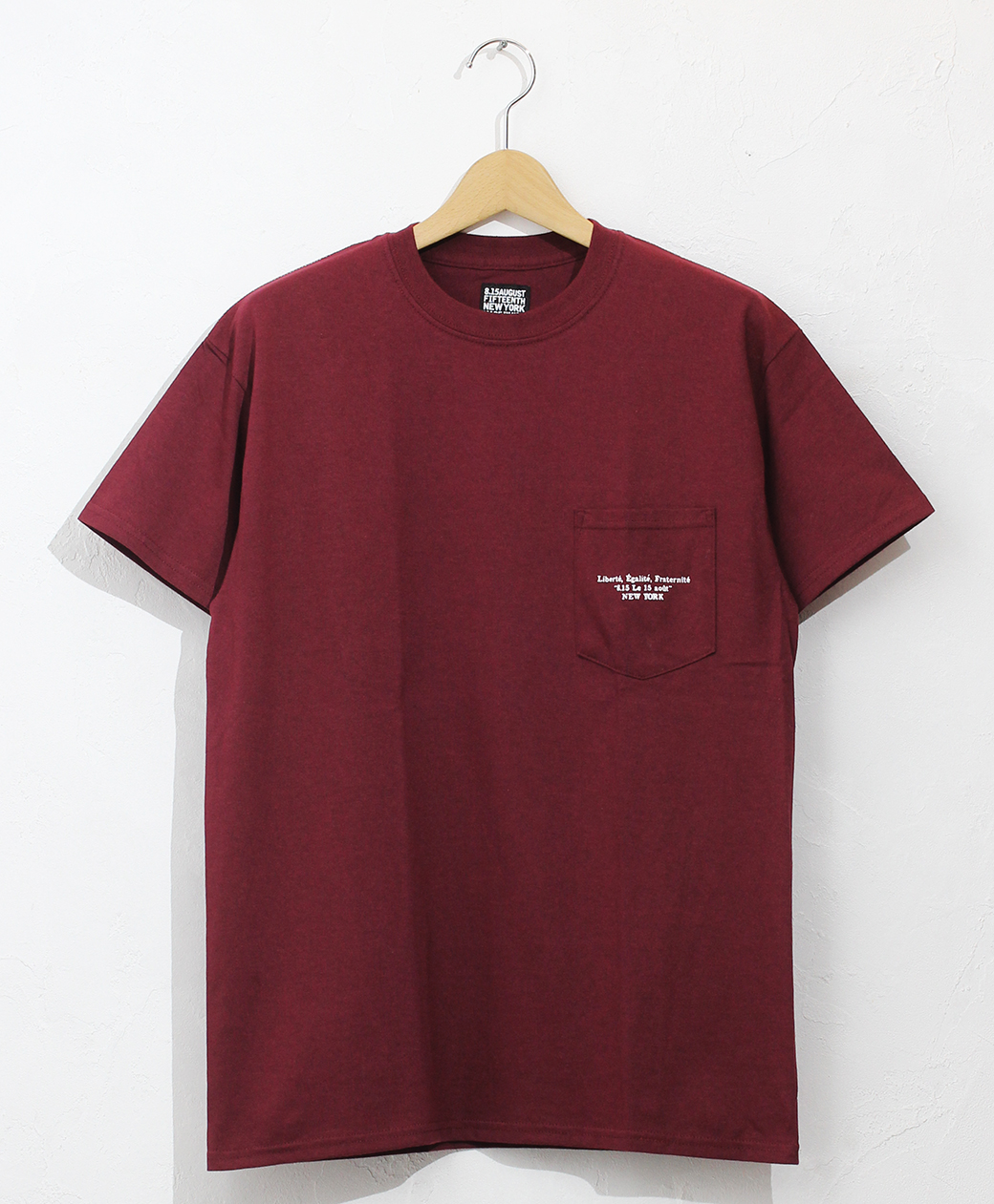 8.15 August Fifteenth LOGO POCKET TEE FRENCH LOGO(BURGUNDY)