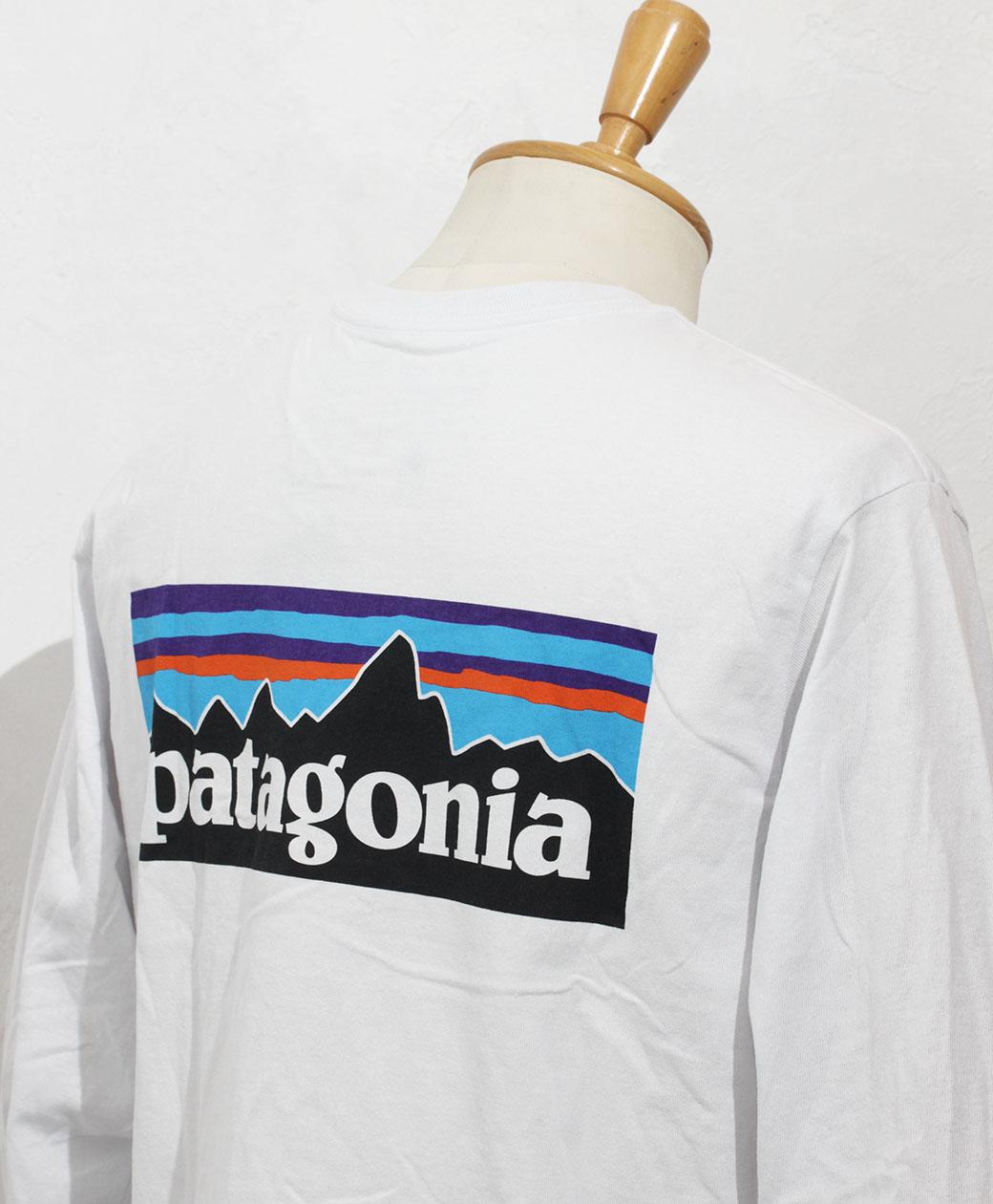 patagonia M's L/S P-6 Logo Responsibili Tee(WHI)