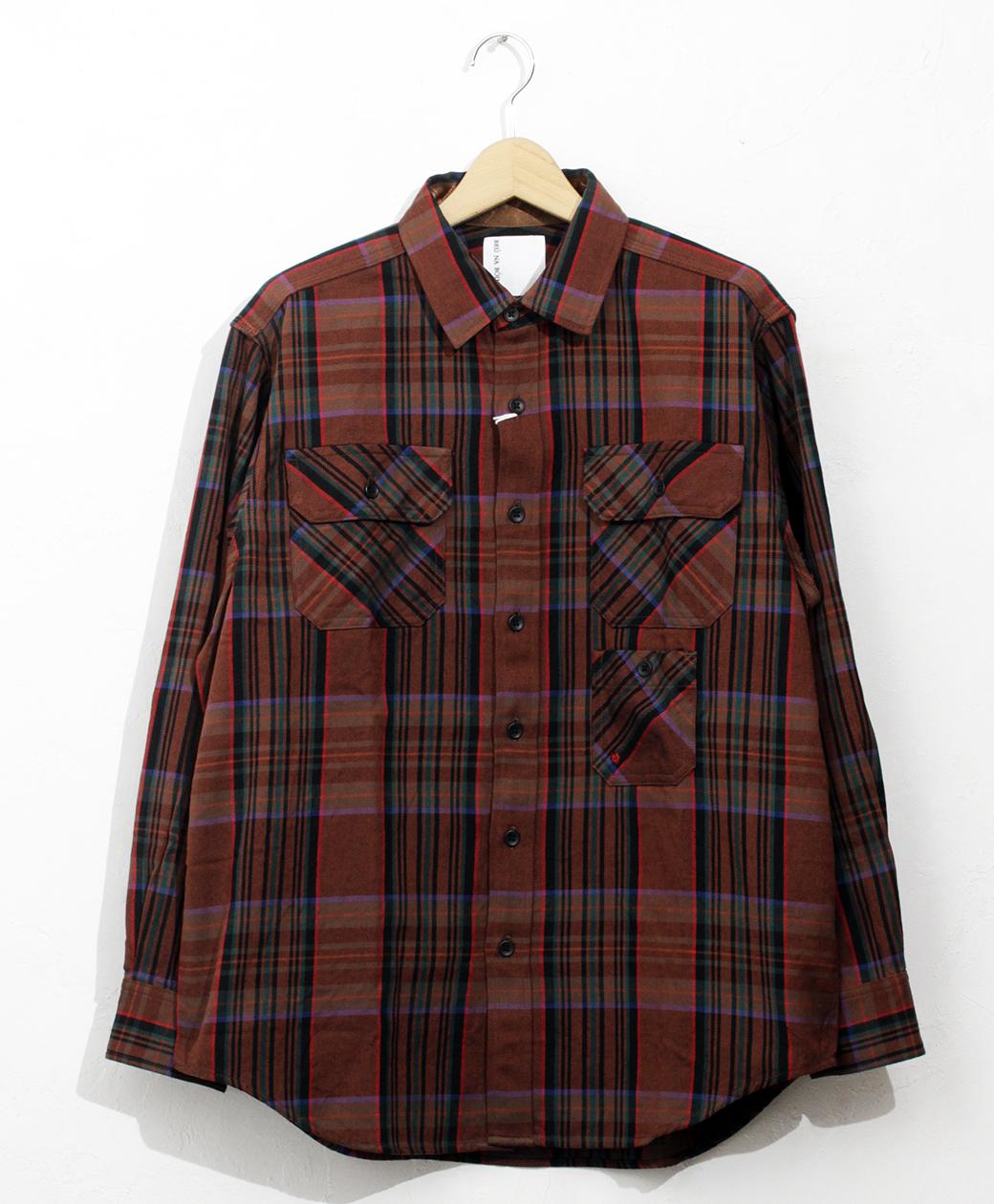 BRU NA BOINNE ブルーナクランチェックシャツ(ブラウン)