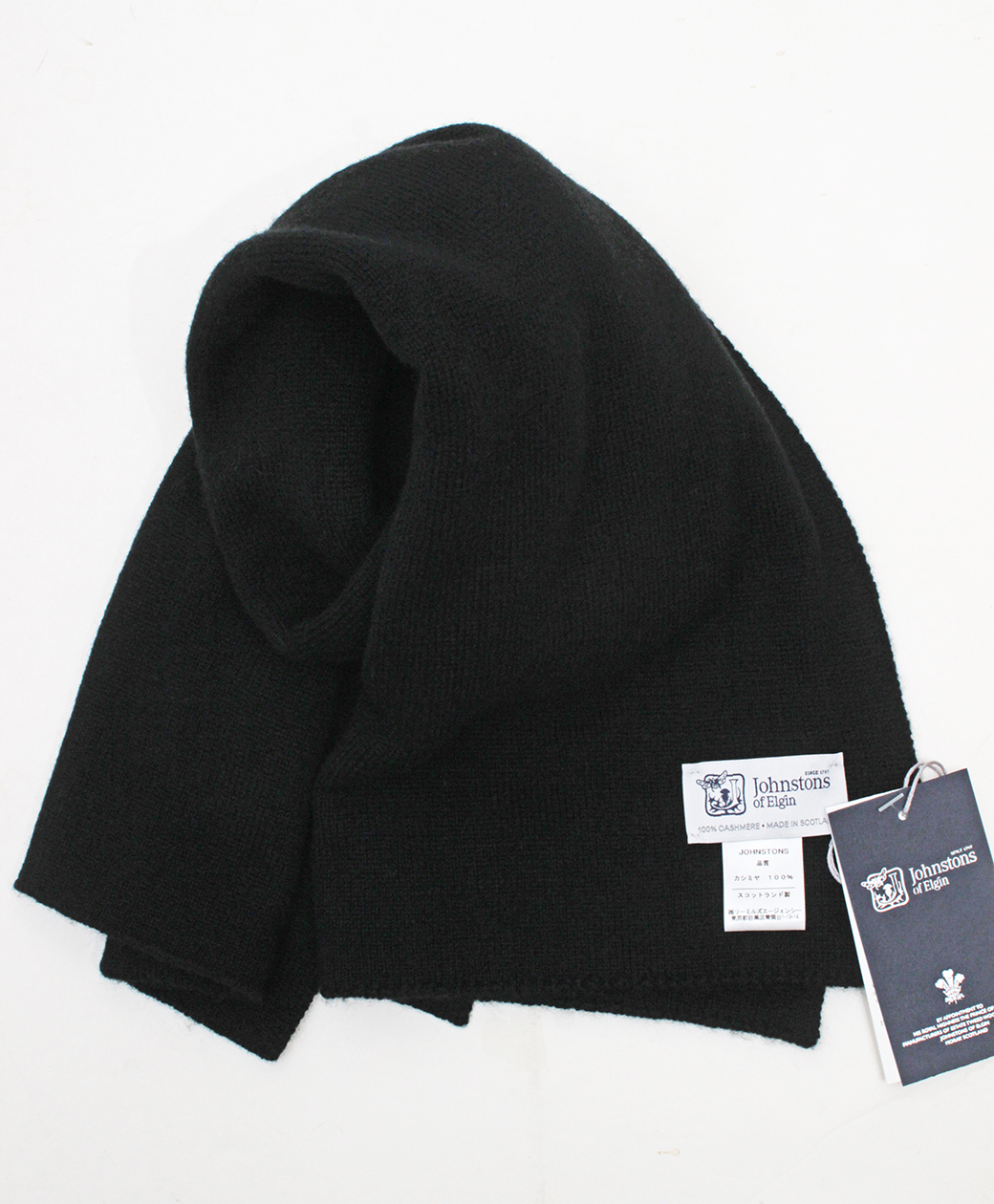 Johnstons of Elgin Short SCARF(Black)