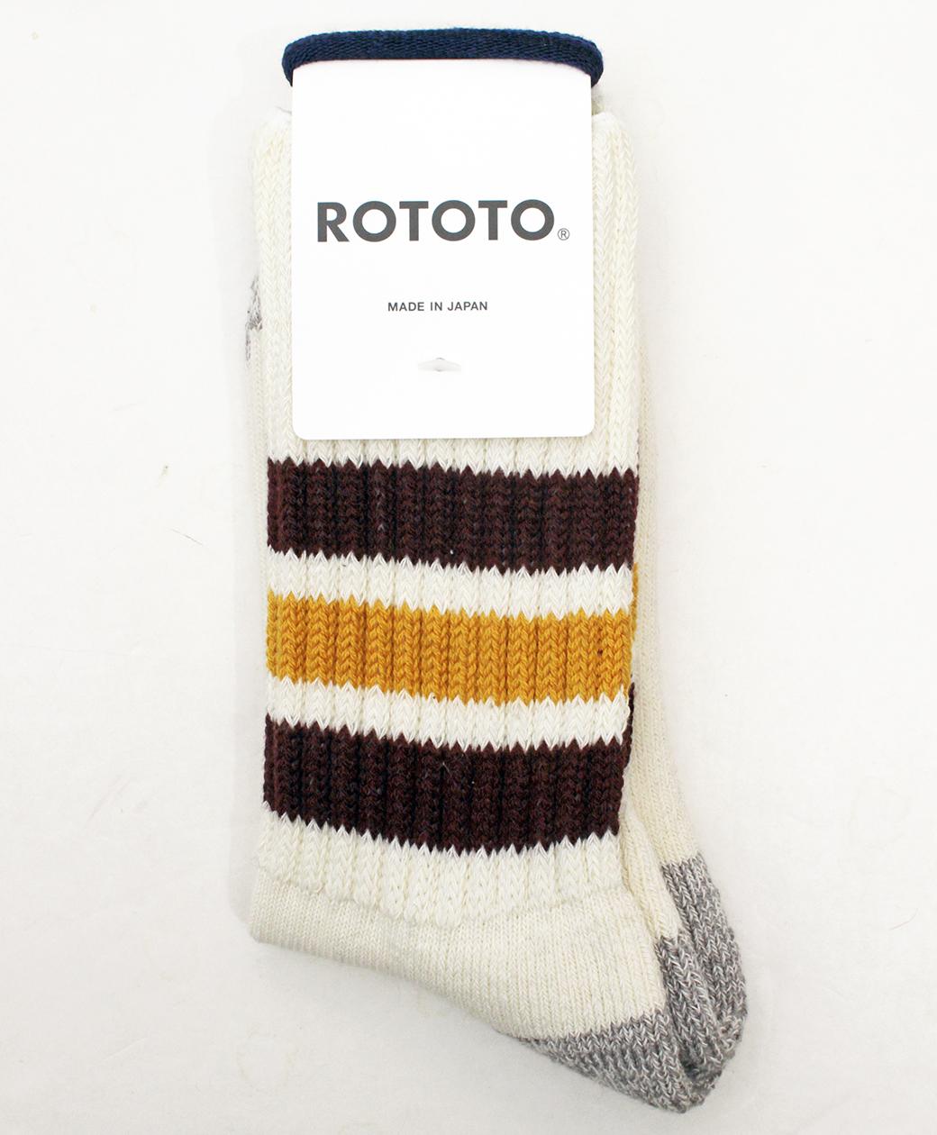 RoToTo COARSE RIBBED OLDSCHOOL CREW SOCKS(BORDEAUX/YELLOW)