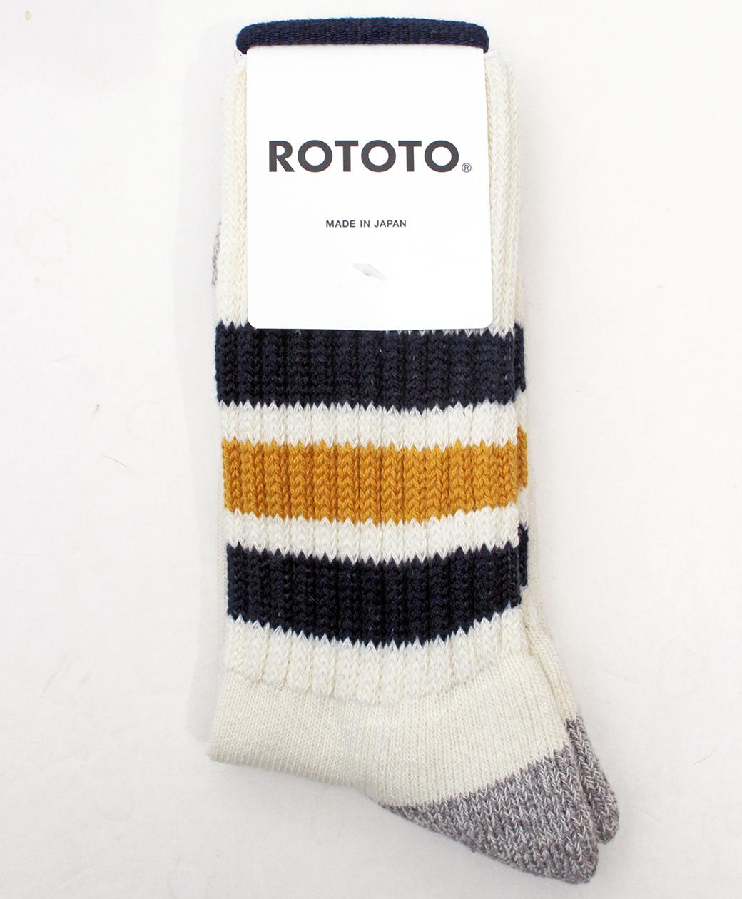 RoToTo COARSE RIBBED OLDSCHOOL CREW SOCKS(NAVY/YELLOW)