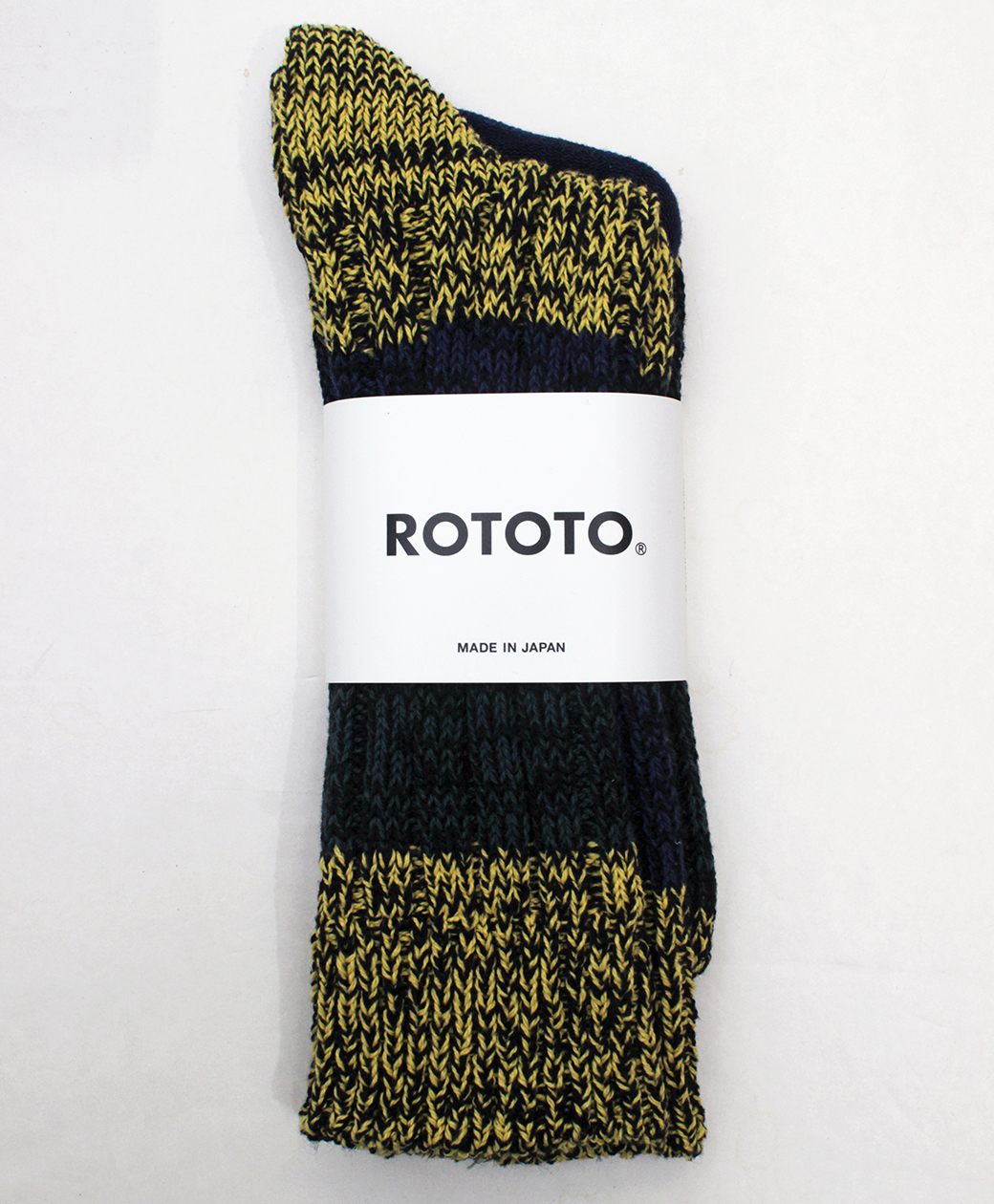 RoToTo MIXTURE CREW SOCKS(YEL/GRN/BLU)