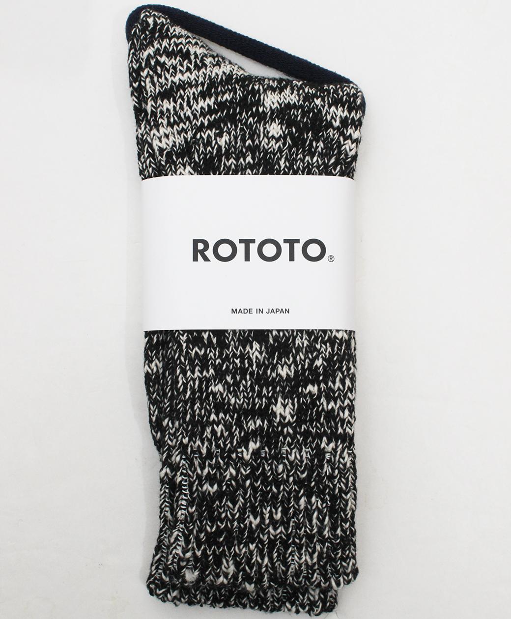 RoToTo LOW GAUGE SLUB  CREW SOCKS(BLACK)