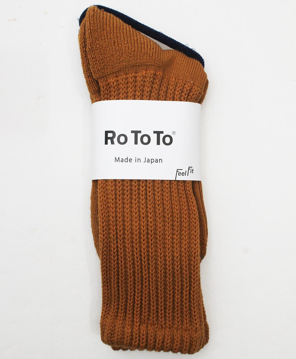 RoToTo LOOSE PILE CREW SOCKS(D.YELLOW)