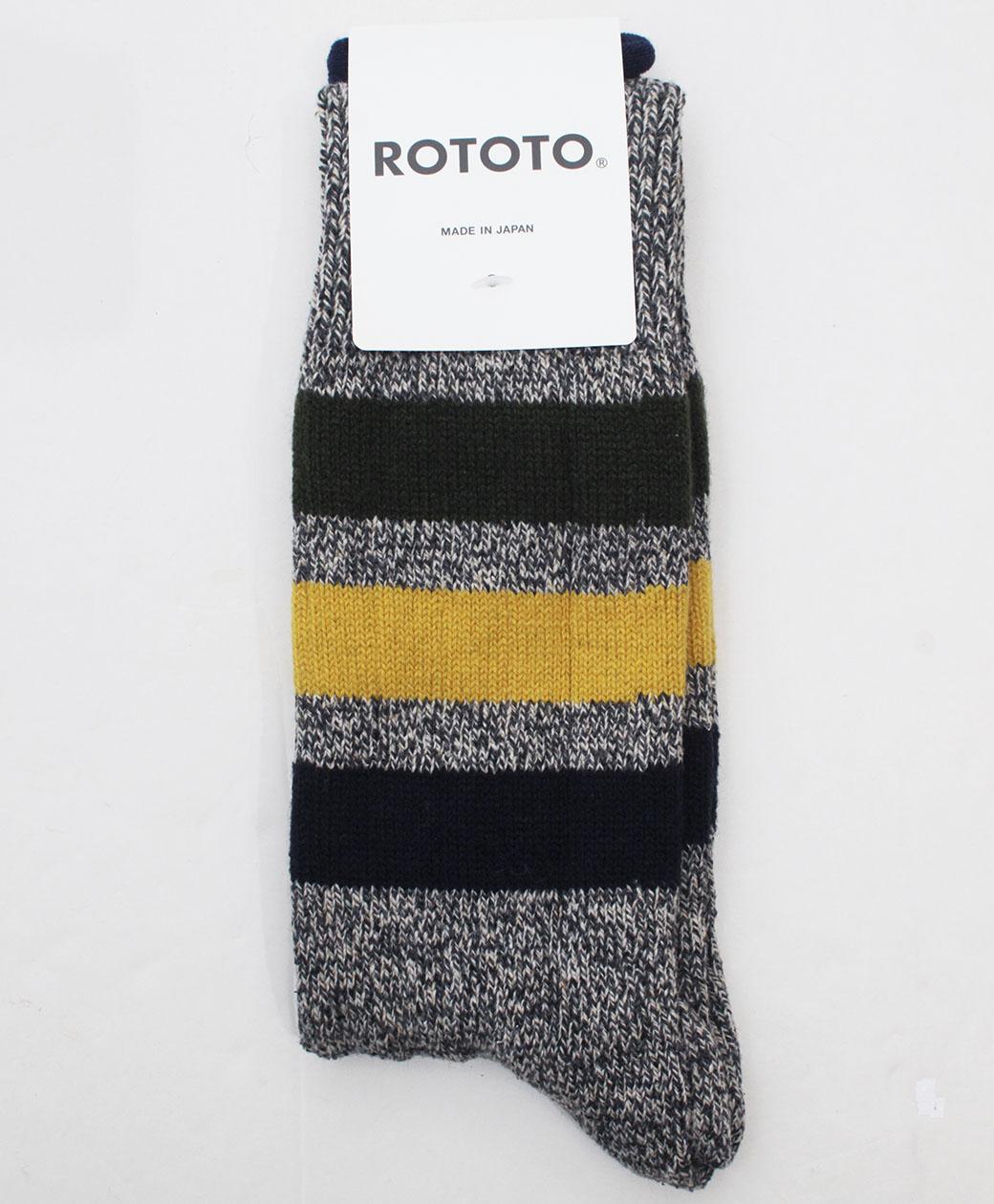 RoToTo PARK STRIPE CREW SOCKS(D.GRAY)