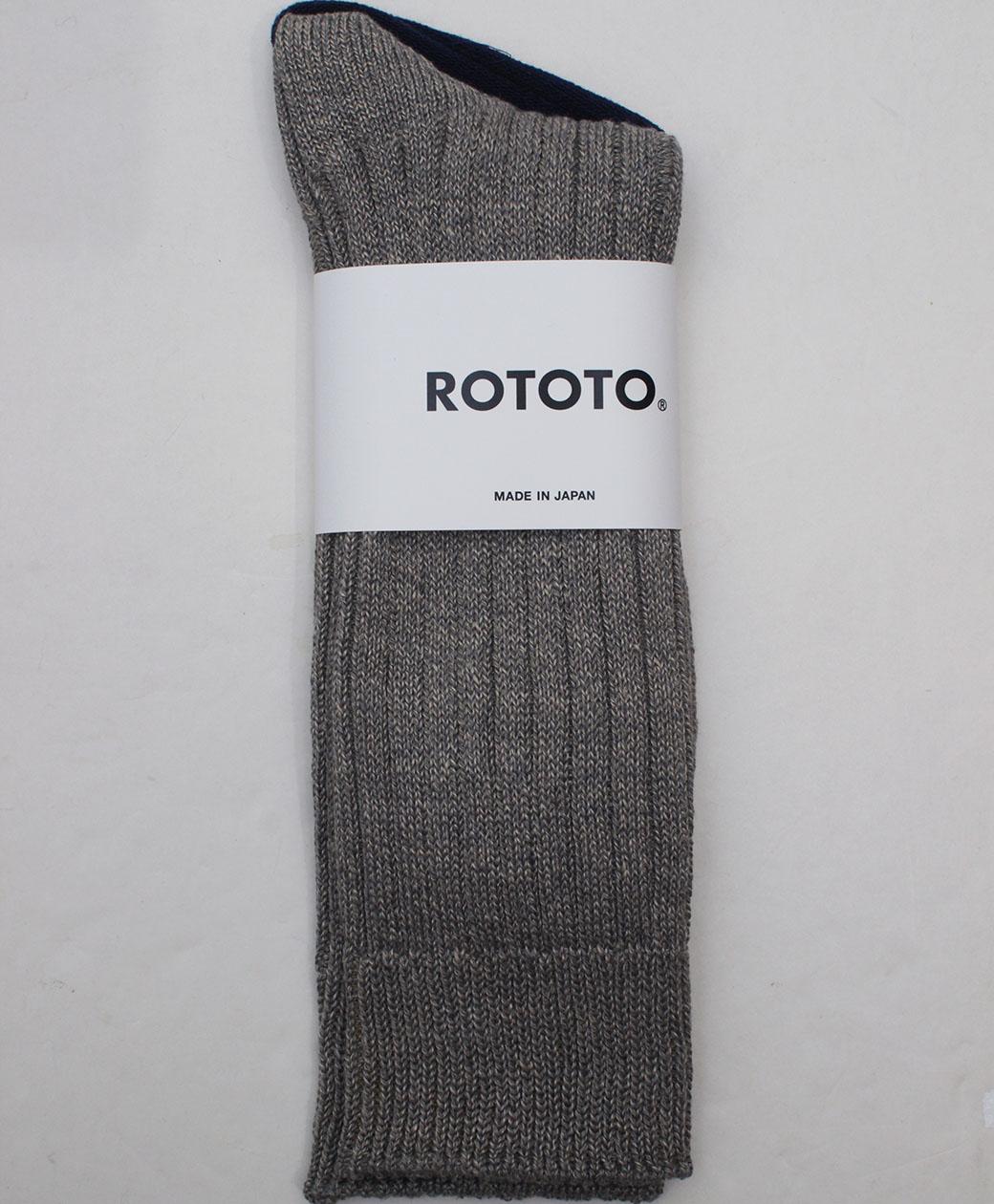 RoToTo LINEN COTTON RIBBED CREW SOCKS(M.GRAY)