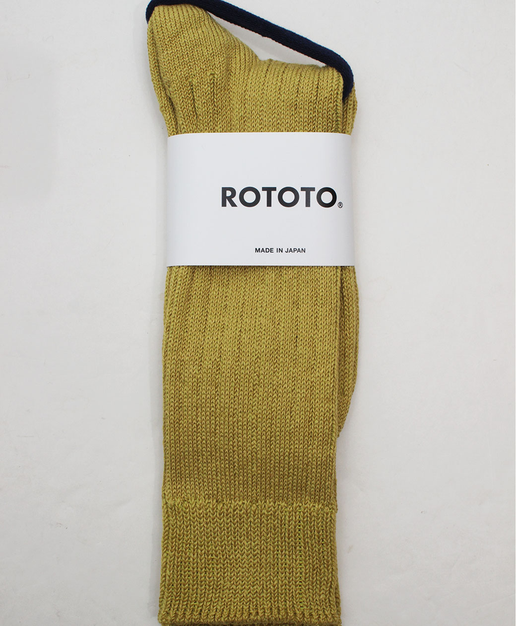 RoToTo LINEN COTTON RIBBED CREW SOCKS(YELLOW)