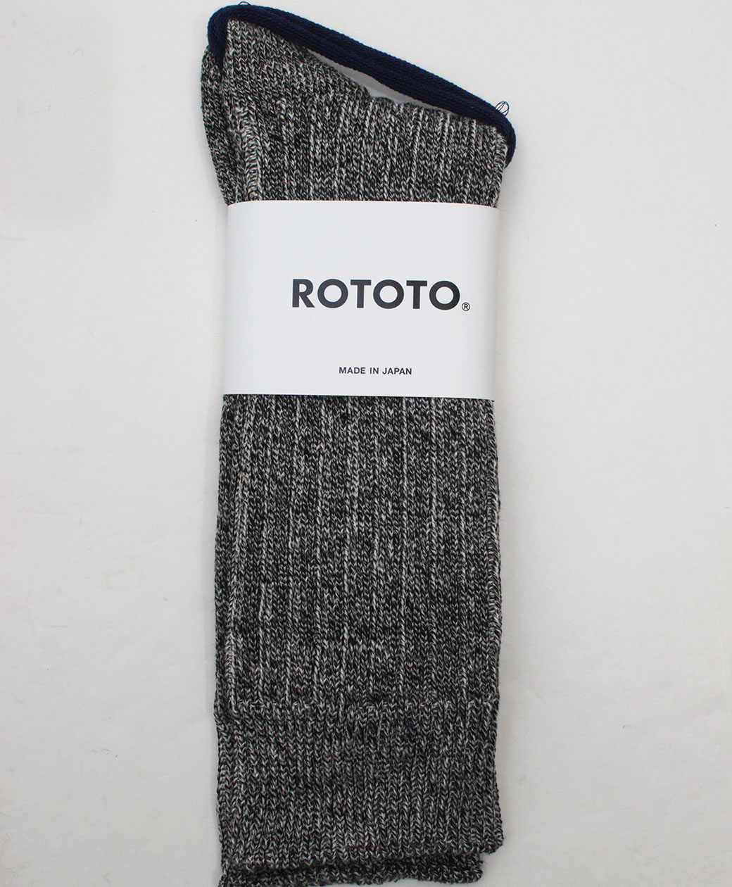 RoToTo LINEN COTTON RIBBED CREW SOCKS(MIX BLACK)