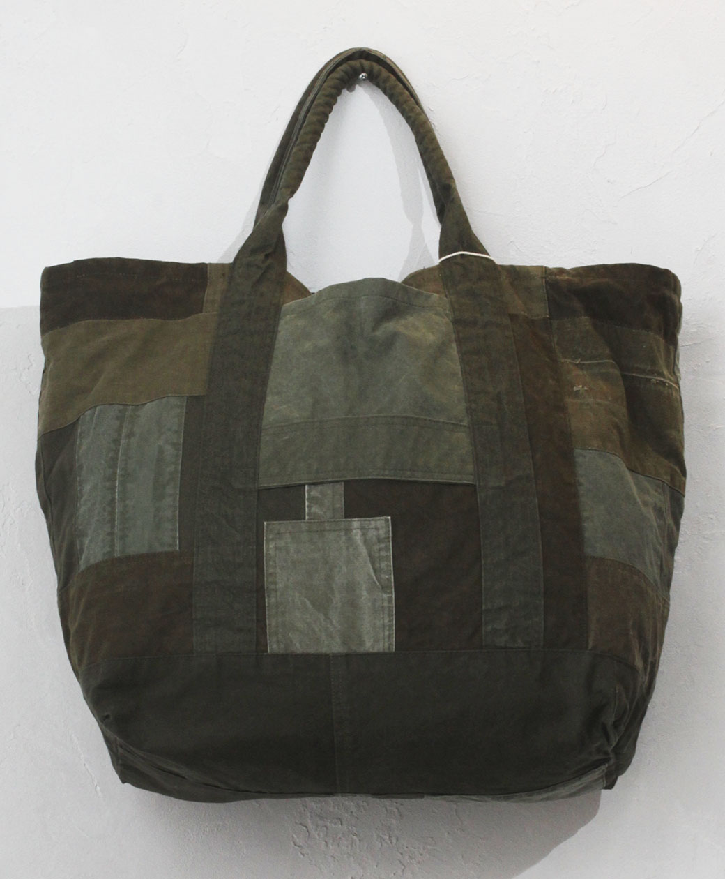 hobo COTTON US ARMY CLOTH PATCHWORK TOTE BAG L(OLIVE)