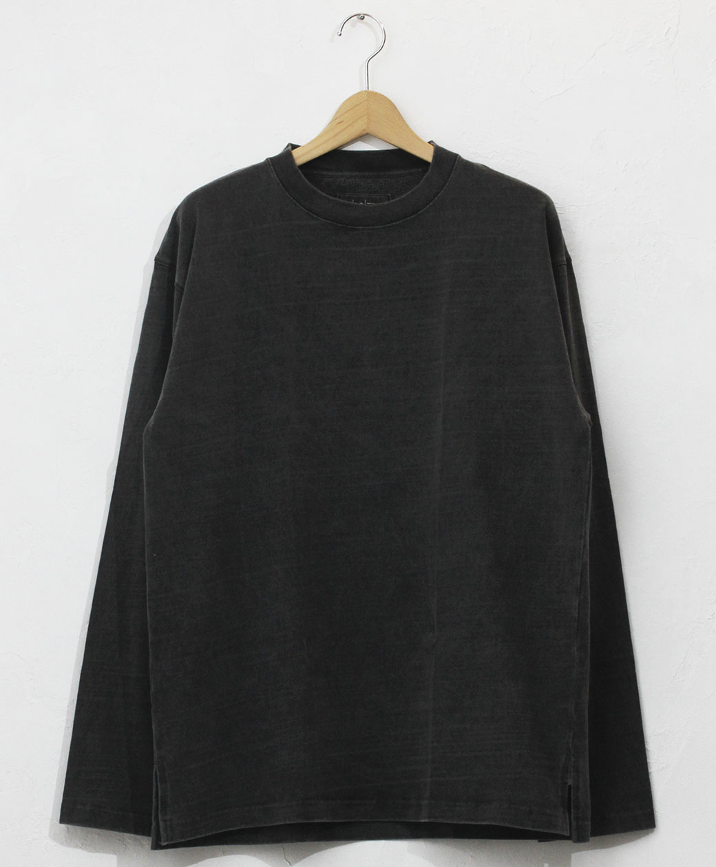 hobo ARTISAN L/S CREW NECK TEE COTTON HEAVYWEIGHT JERSEY CHARCOAL DYED